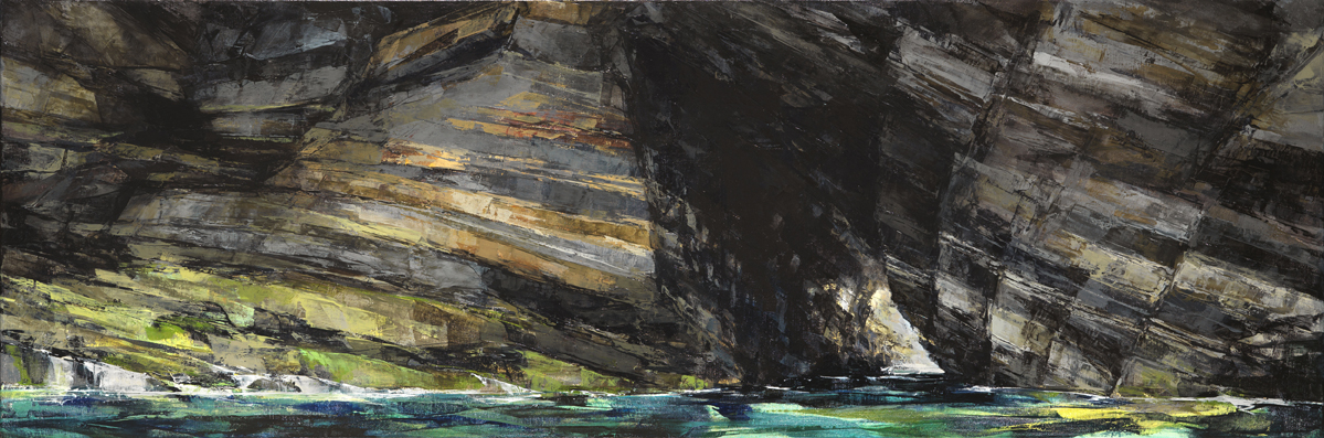 Sarah Adams, Marble Cliff Panorama, oil on linen, 50 x 150 cm