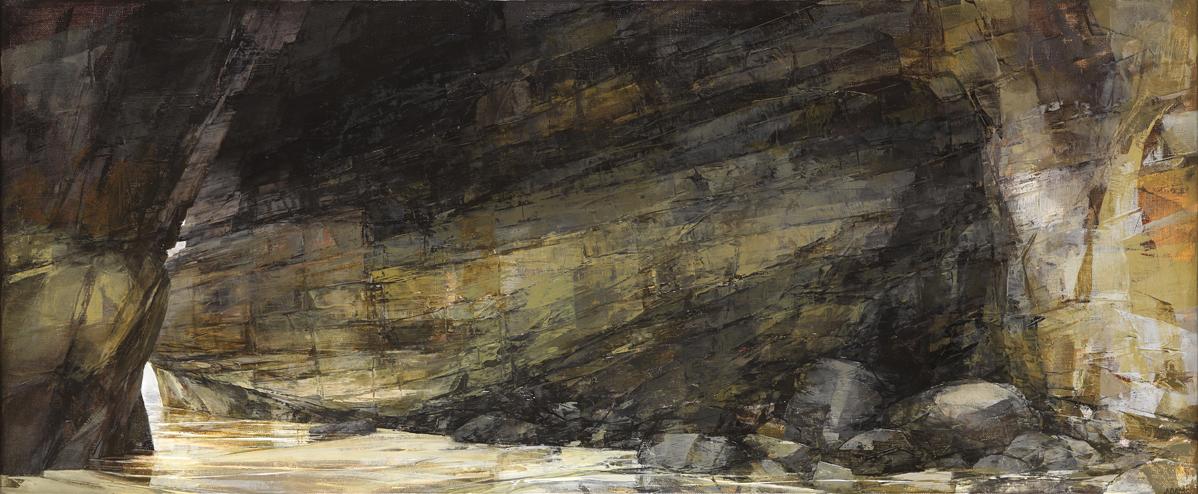 Sarah Adams, Porthmissen, oblique, oil on linen, 50 x 120 cm