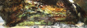 Sarah Adams, Waterfall Cave, oil on linen, 75 x 225 cm