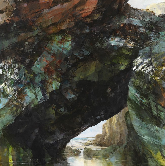 Sarah Adams, 'Arch and cliff at Tregurrian', oil on linen, 120 x 120 cm