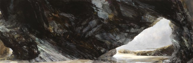 Sarah Adams, 'Polzeath to Pentire', oil on linen, 75 x 225 cm