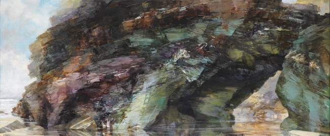 Sarah Adams, 'Tregurrian arch, south side panorama', oil on linen, 50 x 120 cm